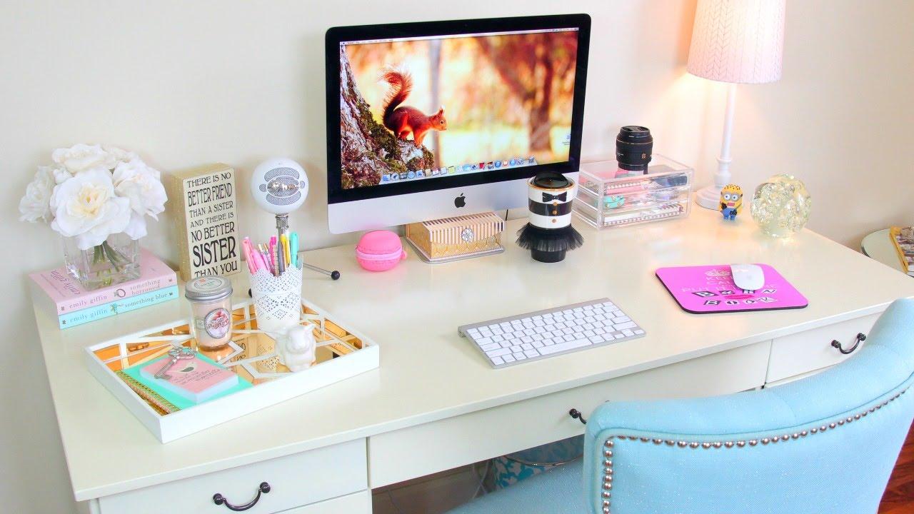 Desk Tour - Office Tour + How To Organize Your Desk - YouTube
