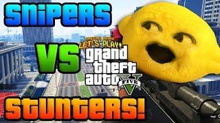 Download Lagu Grandpa Lemon Plays -  GTA V: SNIPERS vs STUNTERS Gratis STAFABAND