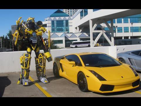 Real Life Transformer Bumblebee Goes To Time Square NYC