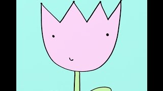 How To Draw A Cartoon Tulip Flower Step-by-Step Drawing Tutorial For Children