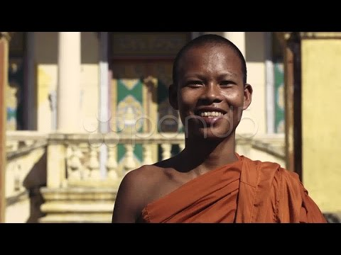 Happy Buddhist Monk Smiling In Temple, Cambodia, Asia. With Model Release. Stock Footage