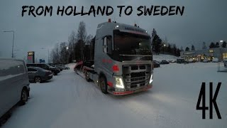 [4K]  From Holland To Sweden Trucking In Extreme Winter Gopro 5