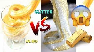 2 DIY➜ SLIME DE OURO VS SLIME COM MUITO GLITTER➜Como Fazer Slime   (AMOEBA)➜ ELENICE CARNEIRO