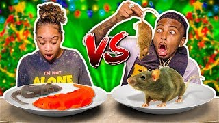 REAL FOOD VS GUMMY FOOD CHALLENGE (HE ATE WORMS & CRICKETS)