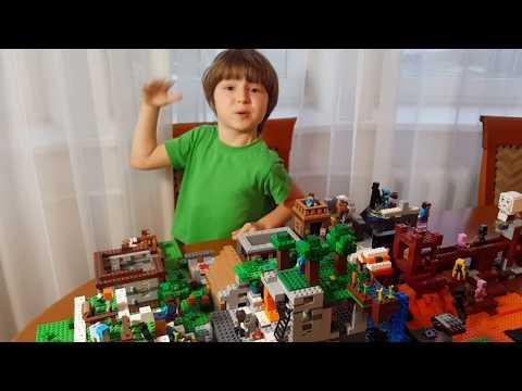 мир майнкрафт. Мой город lego minecraft, самоделка. Нубик
