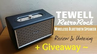 TEWELL Retrorock Bluetooth Bass Speaker - Review & Unboxing + GIVEAWAY