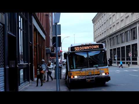 MBTA Bus: Neoplan AN440LF [#0475] Route 501 at Lincoln St & Beach St
