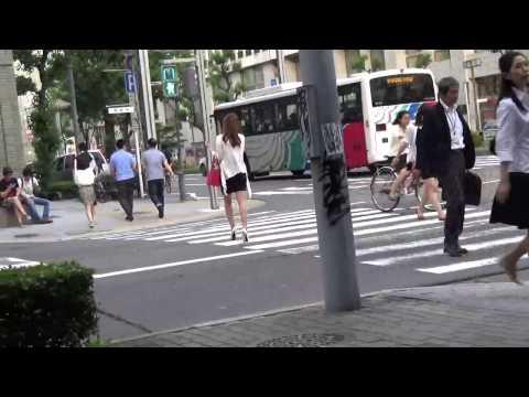 Sexy Japanese Girl Walk Down The Street video