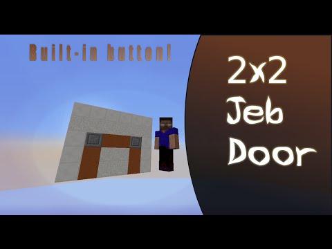 Simple 2x2 Hidden  Jeb Door  with built-in button (no external T-flip-flop)  redstone & Simple 2x2 Hidden