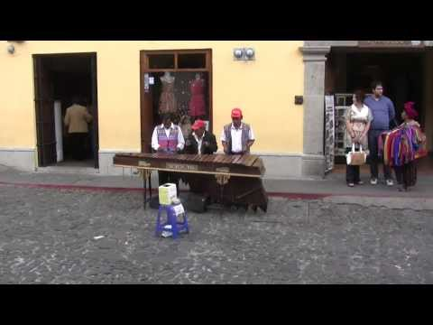 Playing xylophone in Antigua, Guatemala