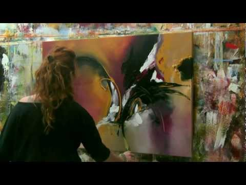 Abstract acrylic painting Demo - Abstrakte Malerei