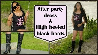Crossdresser - in an after party dress and high heeled boots | NatCrys