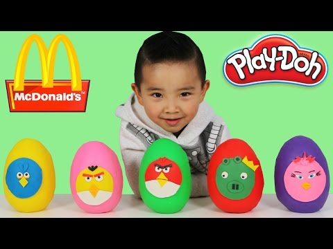 McDonalds Happy Meal Toys Angry Birds Play-Doh Surprise Eggs Opening Fun With Ckn Toys