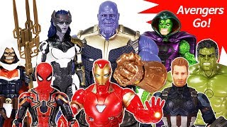 Avengers Infinity War Marvel Legend Heroes vs Thanos with Gauntlet Battle Toys Play