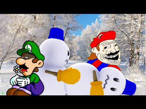 Luigi wants to build a snowman.