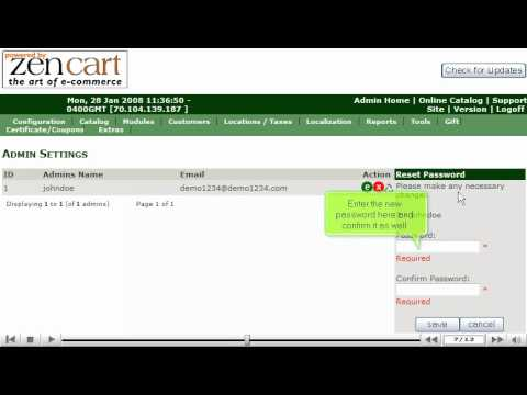 0 Changing your admin password in ZenCart by VodaHost web hosting