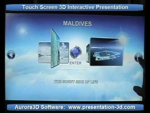 Aurora 3D Touch Screen Interactive Presentation. Business Show.