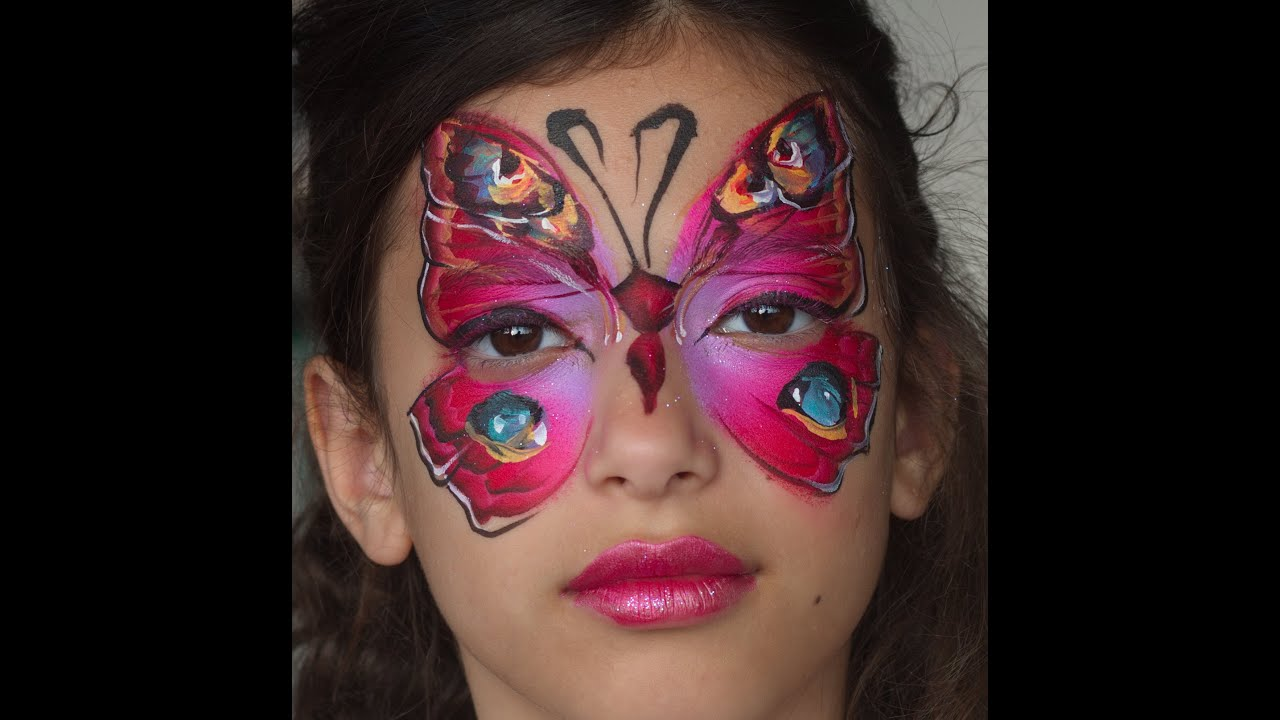 Monarch Butterfly Face Paint Red Butterfly Face Painting by
