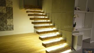 Stairs LED Lighting - Linear LED lights in the stairs