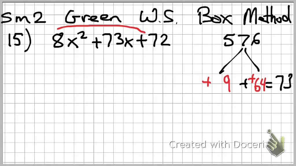sm2 green worksheet factoring 15 box method youtube. Black Bedroom Furniture Sets. Home Design Ideas