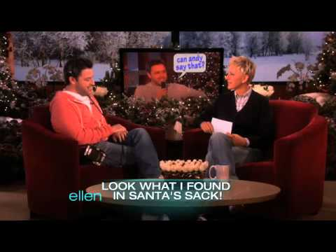 "Ellen has fun with Andy with ""Can He Say That?"""