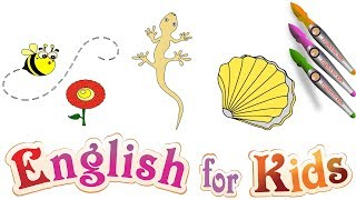 English for kids : How to draw a Bee - Lizard – Centipede