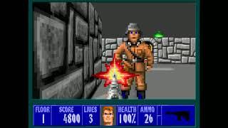 Wolfenstein 3D - E1M1 100% (Death Incarnate) Speedrun in 1:03