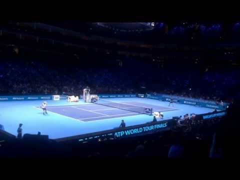 Slow motion point - semi final of the ATP Finals between Novak Djokovic and Kei Nishikori.