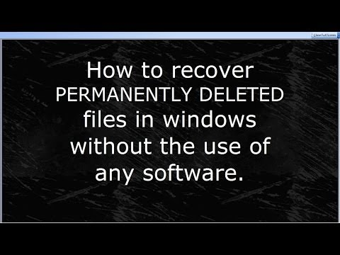 How to recover permanently deleted files without software in WINDOWS