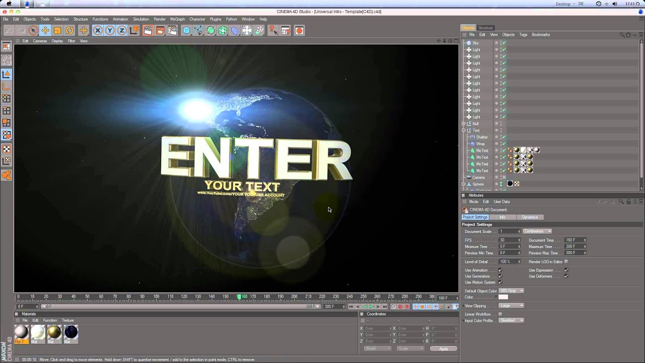 Universal Intro Cinema 4D Template Tutorial[HD] by ...