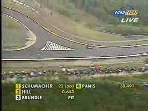 In my opinion, one the most impressive drives of Schumacher&#039;s career - holding off Hill for over a lap whilst on dry tyres on a wet track. I have to say i&#039;m ...