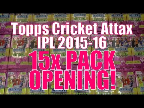 100 CLUB! ☆ 15x PACKS OPENING ☆ Topps CRICKET ATTAX Indian Premier League 2015-16 Trading Cards