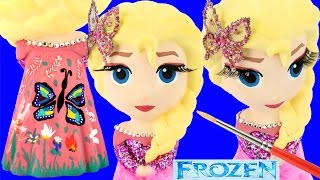 FROZEN ELSA DRESS Paint Your Own Glitter Butterfly Feathers Flowers How-To Costume Figurine Toys