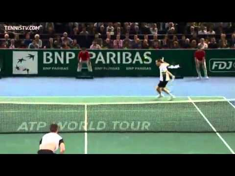 Llodra Hits Hot Shot Dive Volley Vs Soderling In Paris