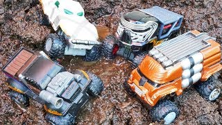 Monster Trucks in Mud Star Wars Solo Hot Wheels Kids Playing Muddy and Racing Razor Bikes!