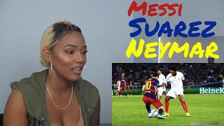 Clueless new American Football Fan reacts to MSN - Messi, Suárez and Neymar Jr. -