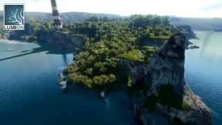 Architectural visualization  Oceanview, sea and waves and island   Lumion 3d