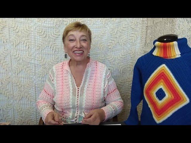 Вязание крючком для детей от О.С. Литвиной. Свитер с квадратом. Схема и описание вязания.