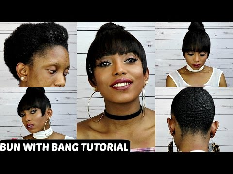 How To Faux Bun With Bang Tutorial On Short Natural Hair NO GLUE NO SEW