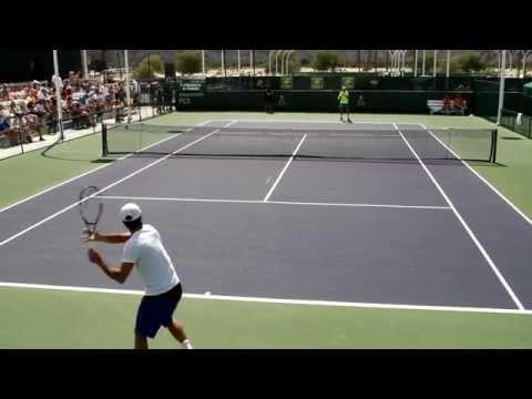 David Ferrer and Fernando Verdasco Practice 2015 BNP Paribas Open Indian Wells