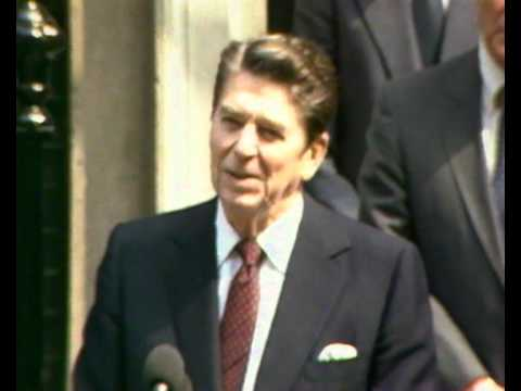Margaret Thatcher and Ronald Reagan speaking outside Downing Street