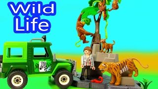 Playmobil wild life truck jungle animals mom baby tigers orangutan
