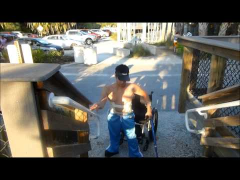 Going up and down steps [stairs] with leg braces and crutches [Wheelchair user] [Paraplegic]
