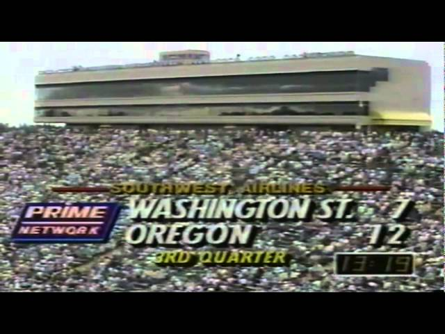 Oregon punter Tommy Thompson 50 yard punt inside the 10 vs. WSU 9-07-91