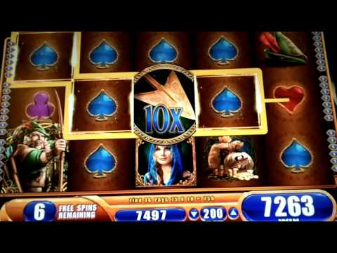 Robin Hood and the Golden Arrow WMS Slot Machine Bonus 20 Free Spins + Retrigger