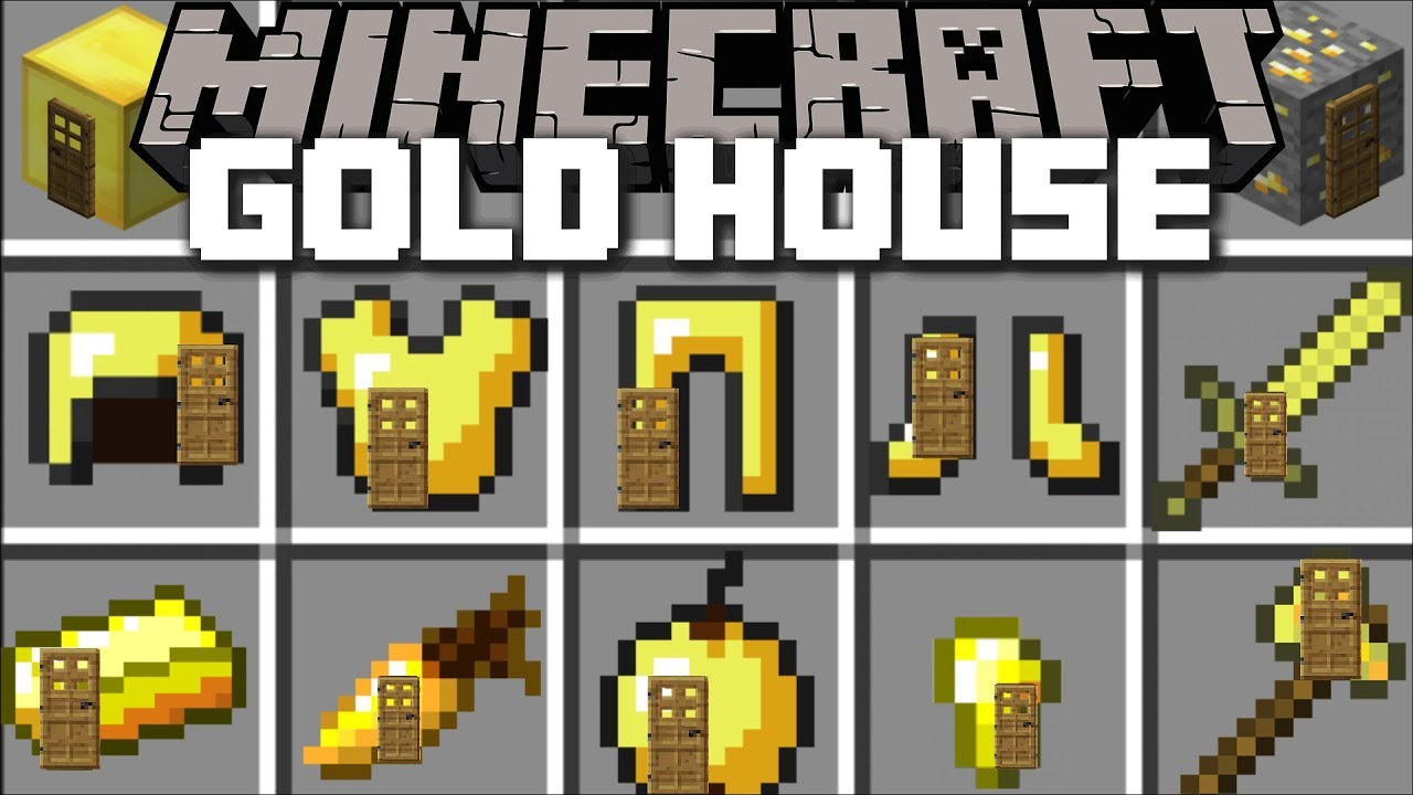 Minecraft GOLD HOUSE MOD / SPAWN INSTANT GOLD HOUSES AND LIVE IN THEM !! Minecraft