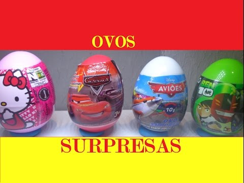 OVOS SURPRESAS DISNEY CARROS HELLO KITTY BEN 10  PARTE#2