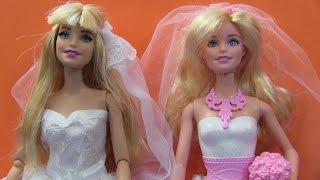 Búp Bê Barbie Và Công Chúa Anna Mặc Váy Cưới/Barbie's New Wedding Gown, Anna Wearing Barbie's Dress