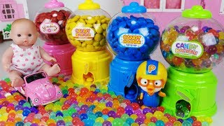 Orbeez M&M Candy Dispenser machine and Baby doll pororo toys play