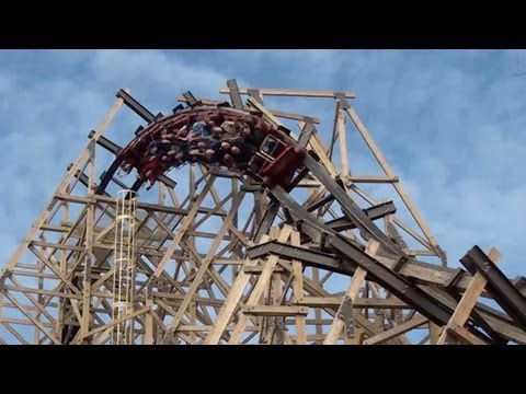Outlaw Run Off Ride and Reverse POV - Silver Dollar City Looping Wooden Roller Coaster